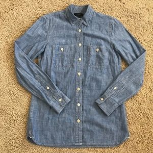 J Crew Chambray Denim Button Down Shirt Blouse 4